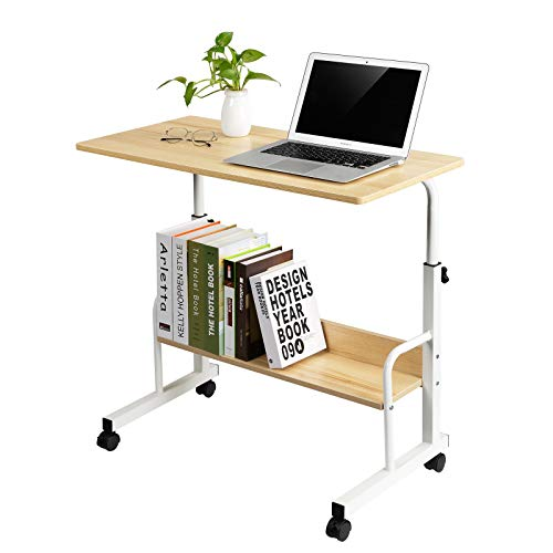 Tray Table, Adjustable Sofa Side Bed Table Portable Desk with Wheels Overbed Table Laptop Cart …