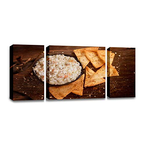 CCArtist Creamy Crab dip with Baked pita Chips Delicious Cream Stock Pictures Wall Decor Print on Canvas Modern Artwork Living Room Bedroom Painting Art Wall