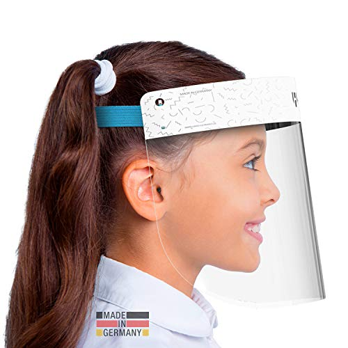 HARD 1x Pro Visier Gesichtsschutz Zertifiziertes Face Shield mit Anti Beschlag, Gesichtsvisier, Gesichtsschild Made in Germany für Kinder - Weiß/Blau