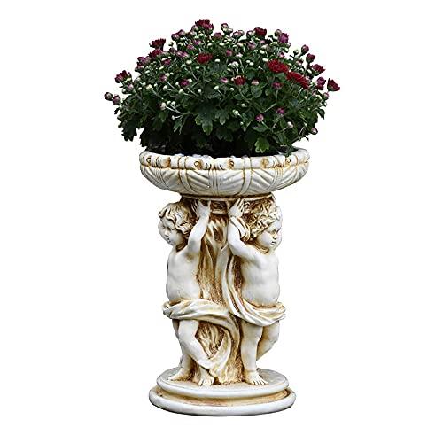 PLHMS Bonito macetero con Forma de ángel para Plantas suculentas, contenedor de Estatua de Plantas, Soporte para macetas de Cactus, Soporte para Plantas de Resina de jardín Decorativo, decoración