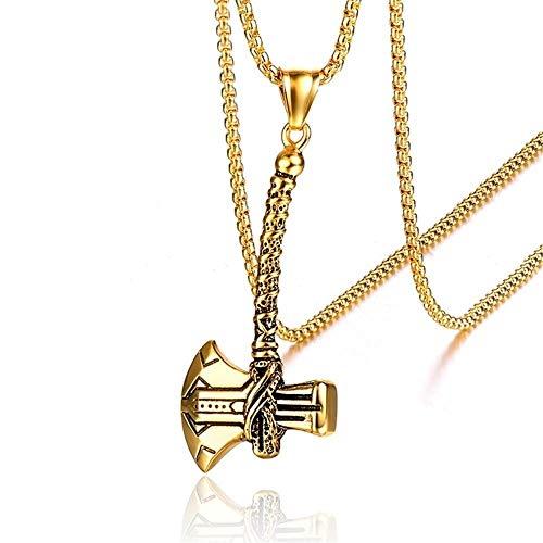 WLXP Chain Necklace for Men Retro Tomahawk Mens Necklace Pendants Stainless Steel Axe Pendant Necklace Titanium Steel (Color : Gold)