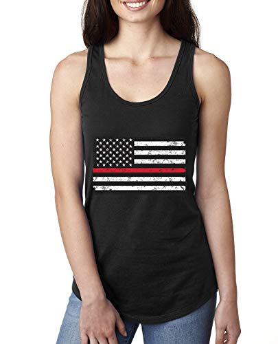Thin Red Line USA Flag First Responders Military Troops   Womens American Pride Jersey Racerback Tank Top, Black, Small