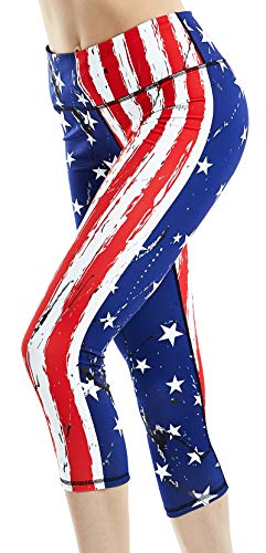 COOLOMG Women's Yoga Running Pants Printed Compression Leggings Workout Tights Hidden Pocket (USA Flag(3/4 Length), Adults Small(Youth X-Large))