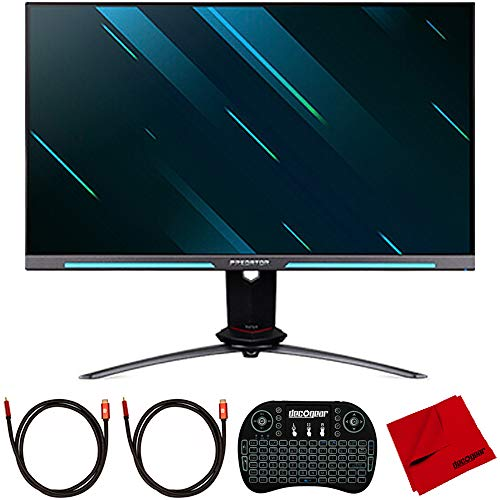 Acer UM.HX0AA.S01 Predator XB273U GSbmiiprzx 27 inch IPS WQHD Gsync Gaming Monitor Bundle with 2.4GHz Wireless Keyboard, 2X 6FT Universal HDMI 2.0 Cable and Microfiber Cleaning Cloth