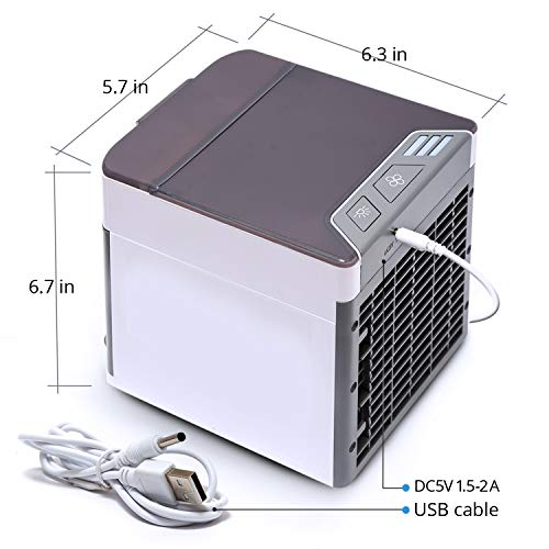 Mini Air Conditioner, Portable Mini Cooler Upgrade Model, Air-Conditioner with USB, Mini Desktop Table Fan with 3 Different Speeds, Indoor Outdoor