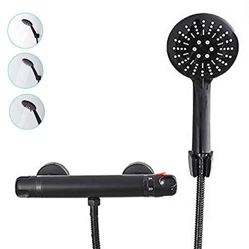 Juego de ducha con grifo termostático y alcachofa de ducha de baño moderno negro