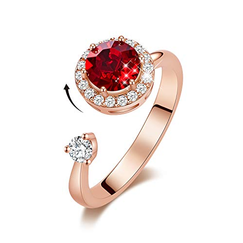 CDE Women Rotating Birthstone Rings - 18K White Gold Plated Open Adjustable Rings Embellished With Crystals From Swarovski Ladies Girls Birthday Gift Size 5-9 (Ruby, 18ct Rose Gold)
