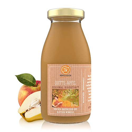 TROPFEN KONTOR Quitte Apfel (0,25 l) Regional Apfelsaft Ohne Zuckerzusatz 100% Direktsaft Unbehandelt Naturtrüber Quittensaft Vegan
