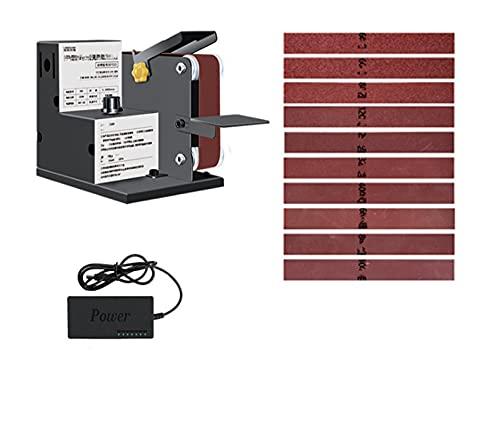 Lijadora de cinturón Mi-Ni con 1 0PCS Máquina de amoladora de cinturón eléctrico de cintas abrasivas con regulación de velocidad continua Cuchillo de molinillo A-PEX Afilador de borde para torneado de