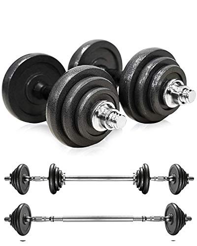 AJUMKER Cast Iron Dumbbell 20KG Adjustable Dumbbells Barbell Fitness Barbell Set Muscle Strength Equipment with Storage Box,Black