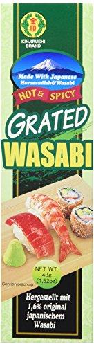 Kinjirushi geriebener Wasabi – Japanische, grüne Wasabipaste in der Tube – Scharfe, vegetarische Paste – Ideal zum Würzen von Sushi – 1 x 43g