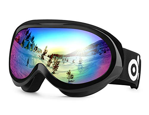 Odoland Kinder Skibrille, Snowboardbrille für die Jugendliche 8-16 Jahre Dual-Linse Anti-Fog UV-Schutz Schneebrille Helmkompatible Bunte (Schwarzer Rahmen) VLT 18%