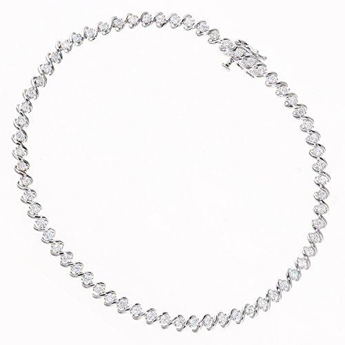 Naava vrouwen 9ct wit goud totaal 1.00ct diamant S lijn ontwerp Tennis armband van lengte 18,2 cm