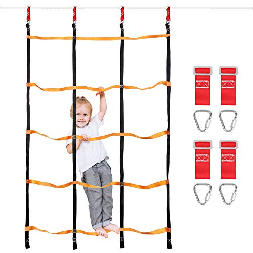 Odoland 3.9ftx6.6ft Ninja Net Climbing Cargo Net Rope Ladder for Kids Outdoor with 4 Square Buckles and 6 Delta Rings, Obstacle Course for Training Equipment and Swing Set Attachment