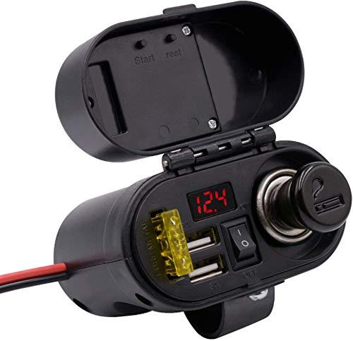 Jankr Cargador de Coche, Enchufe Doble, Impermeable, Motocicleta, Doble USB, teléfono, Adaptador de Cargador GPS con Enchufe y Voltaje