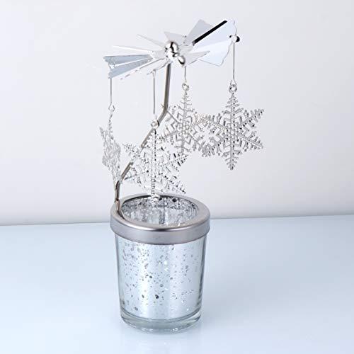 Uonlytech - Portacandele a forma di fiocco di neve, creativo, da appendere alla candela, decorazione natalizia