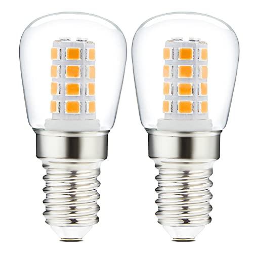 Tarister [2 Stück Kühlschranklampe E14, 3W LED Lampe Warmweiss ersatz für 25W/30W/40WHalogenlampen, 300LM, 3000K, Wasserdicht, für Tischlampen, Nähmaschinen, Dunstabzugshauben und Stehlampe