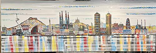 Cuadro Skyline Barcelona Original, lienzo pintado a mano.150x50cm