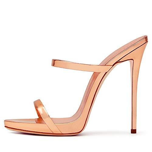 Klassische Sandalen Damen Stiletto Sexy Abendschuhe,MWOOOK-665 Sexy Pumps Schluepfen Party Hochzeit Schuhe,Champagne,42