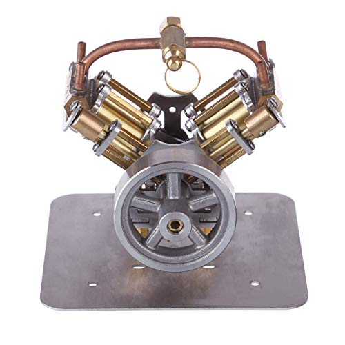 deguojilvxingshe Mini V4 Dampfmaschinenmodell, Ganzmetall-Retro-Dampfmaschine für Dampfschiff-Automodelle (ohne Boiler), Desktop-Dekoration Erwachsene (90 x 85 x 70mm)