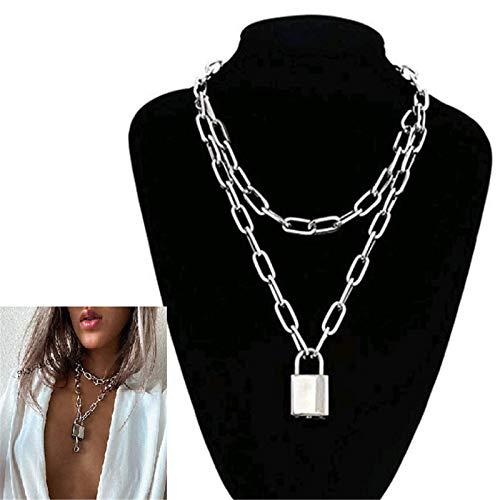 Left Girl Halskette Kette Halskette Damen Herren Dicke Kette mit Schloss Anhänger Halskette Punk Modeschmuck Anhänger Halskette, Silber…