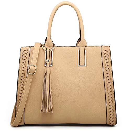 Dasein Women Satchel Handbags Vegan Leather Purses Tassel Shoulder Bags Work Tote for Ladies with Long Strap (Without wallet beige)
