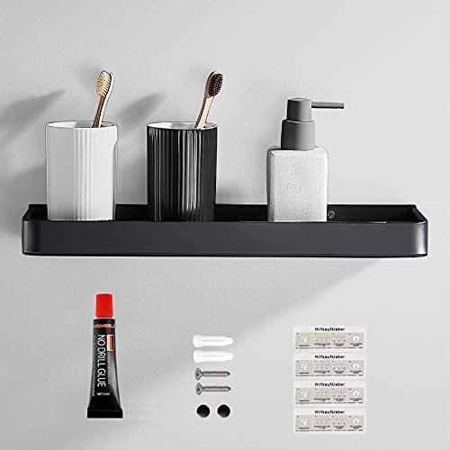 Duschregal farsky Duschablage ohne Bohren - Badezimmer Regal Schwarz Space Aluminium Badregal, Duschkorb Ablage für Küche, Bad, schwarz, 40cm