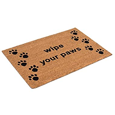 BirdRock Home Wipe Your Paws Coir Doormat | 24 x 36 Inch | Oversized Welcome Mat with Black Paw Prints and Natural Fade | Vinyl Backed | Outdoor