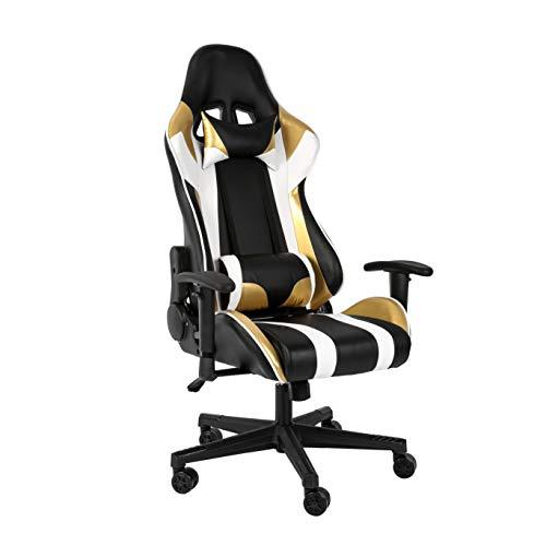 Haliwu - Sedia da Ufficio per Videogiochi, braccioli Regolabili, ergonomica, Colore: Oro/Bianco (Gold)