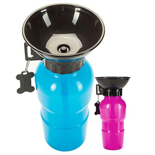 GOODS+GADGETS Hunde Trinkflasche mit integriertem Trinknapf Reise Wasserflasche Auto Hundeflasche mit Wasser-Napf 600ml; Blau