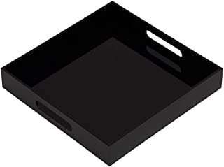 Glossy Black Sturdy Acrylic Serving Tray with Handles-12x12x2H Inch-Thickness of 3/16 Inch- Countertop Organizer for Kitchen,Bathroom,Office,Bar- Storage Box for Cosmetics, Jewelry,Toiletries,Toys