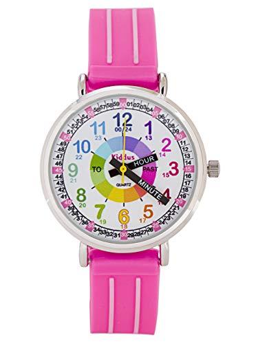 KIDDUS Lern Armbanduhr für Kinder, Jungen und Mädchen. Analoge Uhr mit Zeitlernübungen, japanischen Quarzwerk, gut lesbar, um ganz leicht zu Lernen, die Uhr zu lesen Blau Fußball KI10323