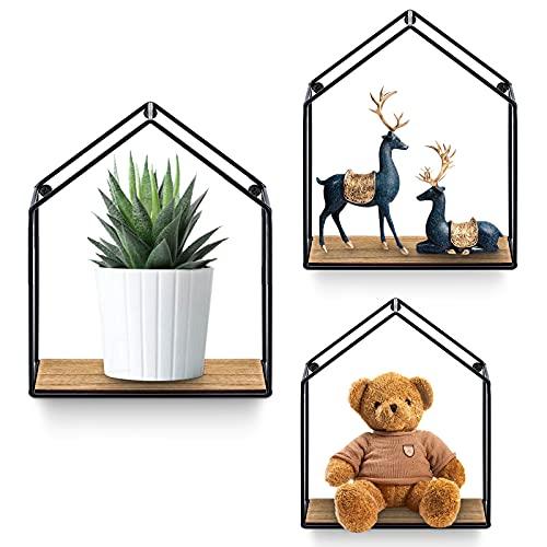 Yorbay set di 3 mensole in metallo mensola appesa mensole design per la casa in 3 diverse dimensioni per la decorazione della parete, mensola in legno, nero