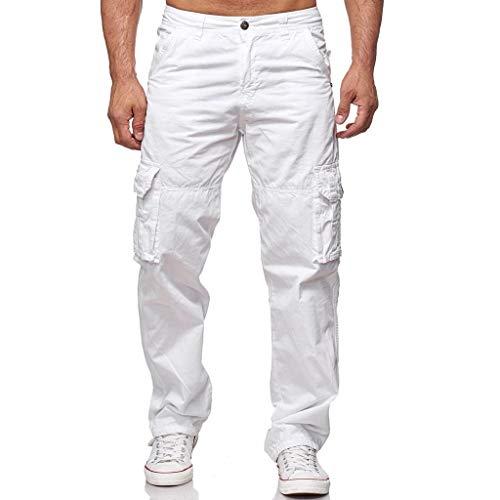 HDUFGJ Herren Outdoor Cargo Hose Mehrfachtasche Sporthosen Hosen Straight Tapered Piers Legere Hosen Scrub Blue wash Jeanshosen Shorts Streetwear41.7 W/48 L(Weiß)