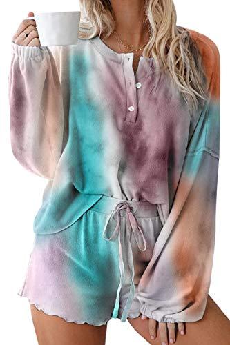 Tuopuda Pijamas Mujer Verano 2 Piezas Cómodo Tie Dye Manga Larga Camiseta Estampado Pijamas Dormir Set Ropa de Casa Conjuntos Pantalones Cortos con Bolsillos