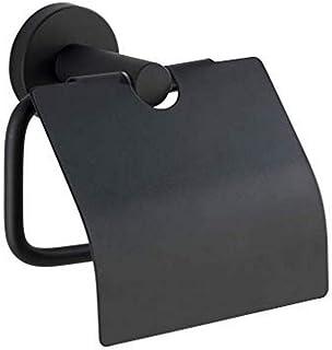 Dérouleur Papier WC avec Couvercle Bosio Black Mat Porte-Rouleaux de Papier hygiénique, avec Couvercle
