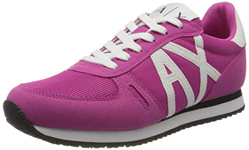 Armani Exchange Retro Running Sneakers, Zapatillas para Mujer, Rosa (Fuchsia Agate+White A287), 40 EU