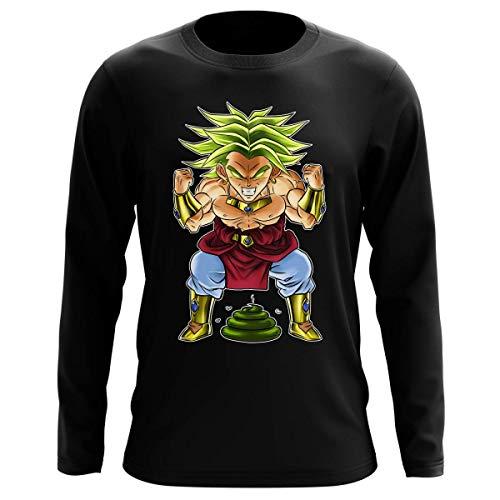 Okiwoki T-Shirt Manches Longues Noir Parodie Dragon Ball Z - DBZ - Broly Le Guerrier millénaire - Super Caca Vol.3 - Le Caca Millénaire (T-Shirt de qualité Premium de Taille L - imprimé en France)