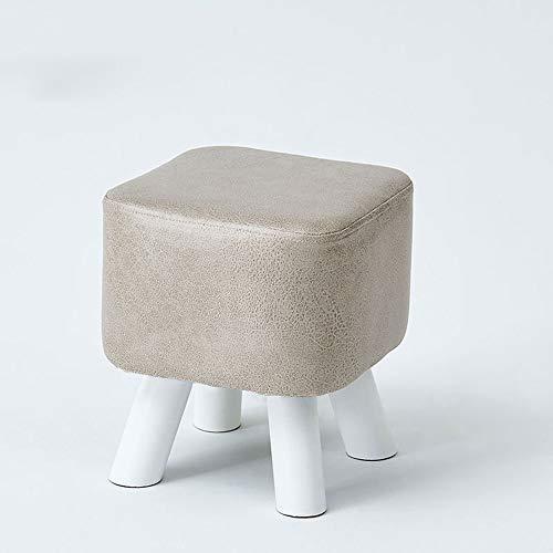 ZMING Home massief hout schoenen bank, moderne minimalistische lederen woonkamer kruk, creatieve bank (kleur: bruin/grijs)