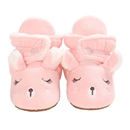 Baby Girls Boys Cozy Fleece Booties Christmas Reindeer Elk Design Newborn Shoes Infant Footwear (Pink, 6_Months)
