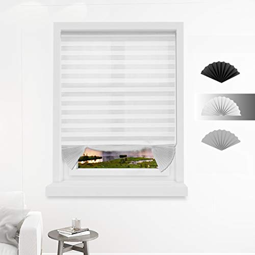 Allesin Temporary Cordless Blinds Light Filtering Fabric Pleated Shades for Windows, White 36 x 72 Inch - 3 Pack, Easy to Cut