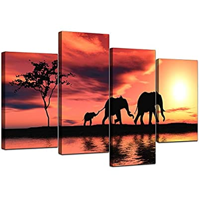 Large Africa Sunset Elephants Canvas Wall Art Pictures Prints