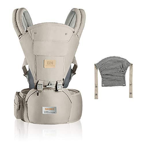 ERWEY Babytrage Ergonomische mit Breiter Hüftsitz, atmungsaktiv, Multiposition, mit Abnehmbarer Kapuze, Einstellbar für Neugeborene und Kleinkinder von 0 bis 3 Jahren Kindertrage (Beige)