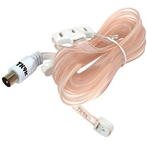 Antenna FM Ribbon Uni universale FM nastro aerea per migliorare il segnale radio FM Ricezione Ribbon design allows for discreto posizionamento intorno casa connessioni coassiale T Formation flat-twin cavo a nastro 300Ohm impedenza 1,8m, piombo