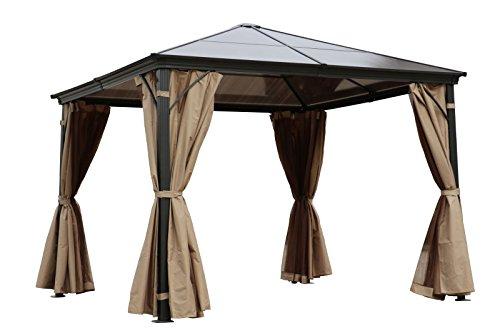 OUTFLEXX hochwertiger Hardtop Pavillon in grau, solides Aluminiumgestell mit Dach aus Polycarbonatplatten, 3 x 3 m, Seitenteile aus braunem Polyester, Insektenschutz, korrosionsbeständig, wetterfest
