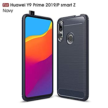 Huawei P Smart Z /Y9 Prime 2019 Case Silicone Leather[Slim Thin] Flexible TPU Protective Case Shock Absorption Carbon Fiber Cover for Huawei P Smart Z/Y9 Prime 2019  Navy