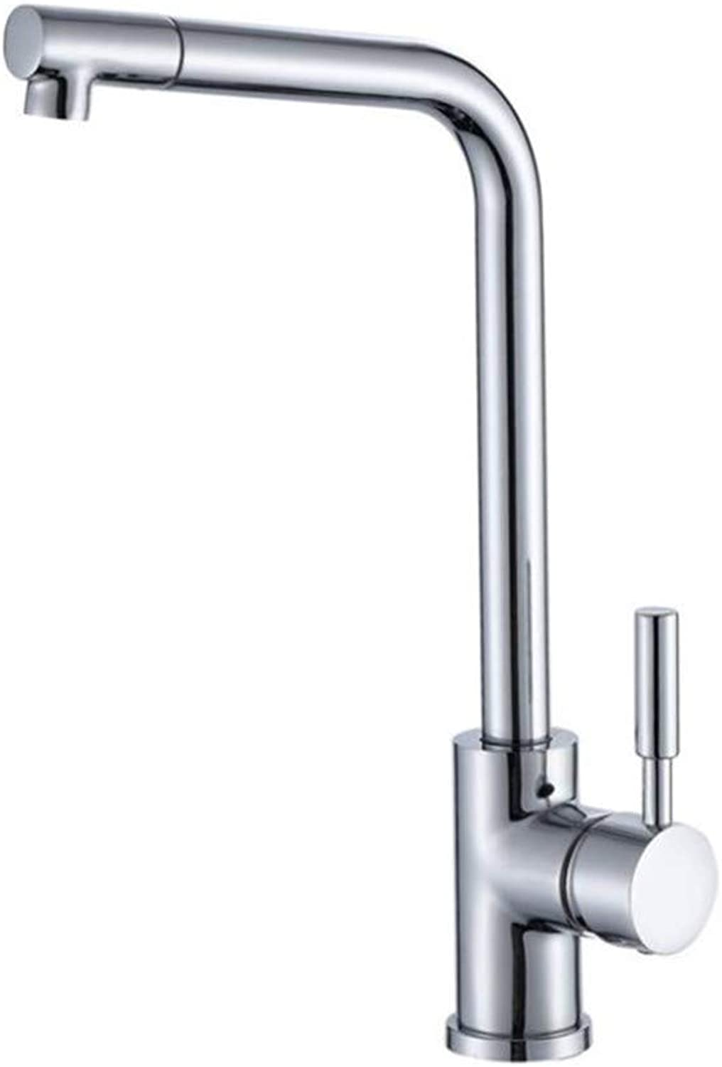 Bathroom Sink Basin Lever Mixer Tap Round Tee Wire Drawing Kitchen Faucet Stainless Steel Sink Faucet Cold and Hot Water Faucet