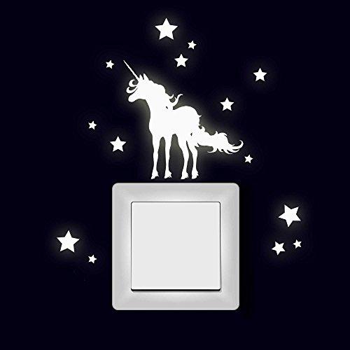 ilka parey wandtattoo-welt Lichtschaltertattoo Wandtattoo Aufkleber Einhorn mit Sternen fluoreszierend M1997