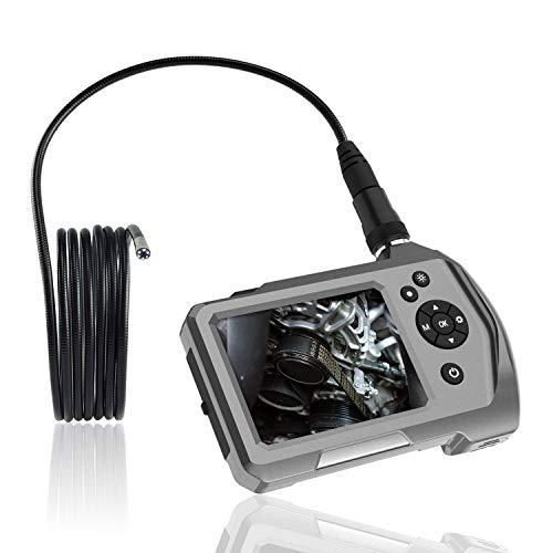 Industriële endoscoop met scherm, 0,21 inch microinspectiecamera met ledlicht, waterdichte endoscoop met zwanenhals van metaal, accu, gereedschapskist, broek 1 m