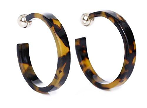 AIEDE Earrings Acrylic Marbled Earring Leopard Round Hoop Earrings (Black And Yellow)